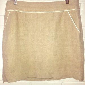 Loft 100% linen tan/khaki above the knee skirt-6